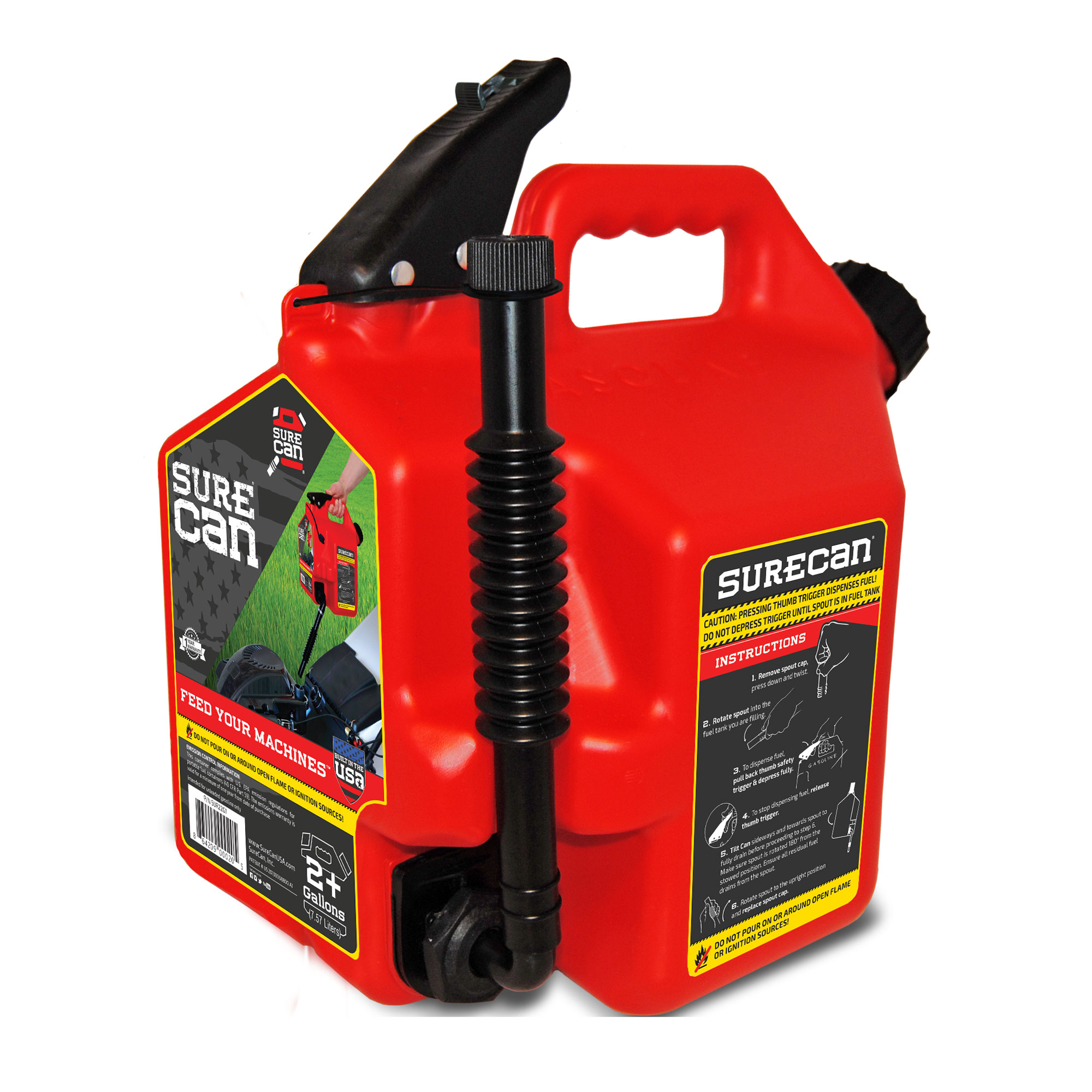 SureCan Self Venting Easy Pour Nozzle 2.2 Gallon Flow Control Gas Container, Red