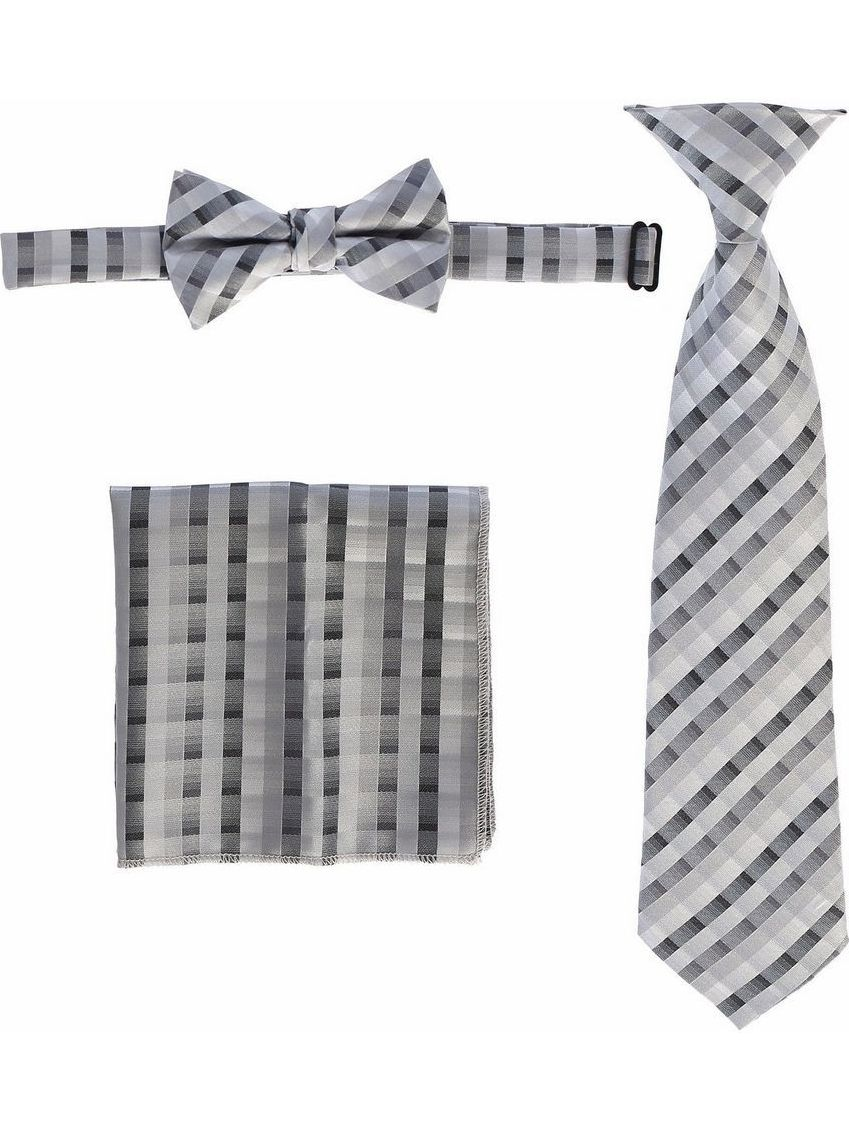 Boys Grey Plaid Striped Tie Bow Tie Pocket Square 3 Pc Accessory Set