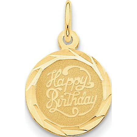 Leslies Fine Jewelry Designer 14k Yellow Gold Happy Birthday Disc (13x20mm) Pendant Gift 14k Happy Birthday Disc