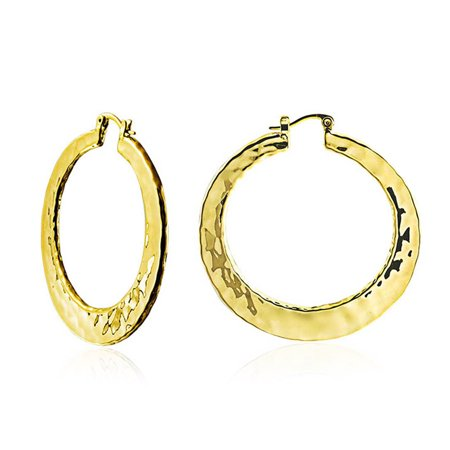 - Boho Style Textured Hammered Flat Large Hoop Earrings For Women For Teen Silver 14K Gold Plated Brass 2 Inch