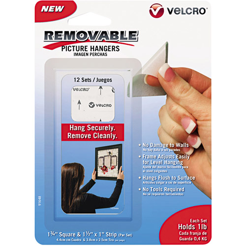 """Velcro Removable Light Duty Hook and Loop Fasteners, 1-3/4"""", 12 Sets"""