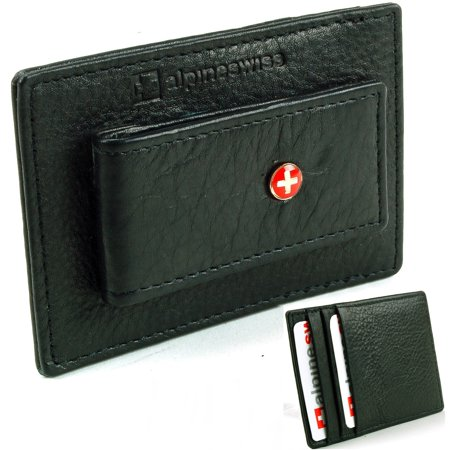 Bill Holder Wallet (Alpine Swiss Mens Leather Money Clip Wallet Slim Card Case Up to 15 Bill Holder Black One)