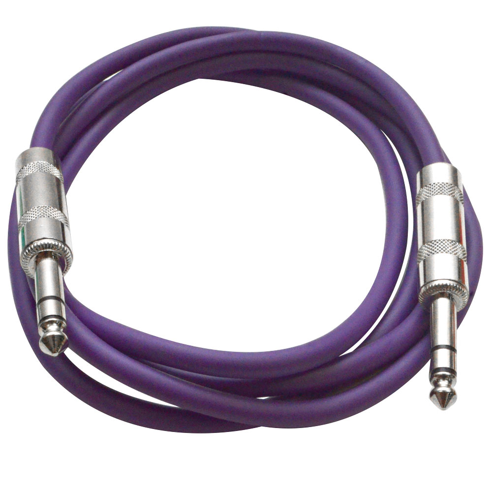 "SEISMIC AUDIO Purple 1//4/"" TRS 10/' Patch Cable Effects"