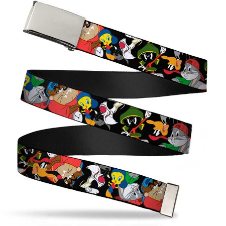 Blank Chrome Buckle Looney Tunes 6 Hip Hop Character Poses Scattered Web