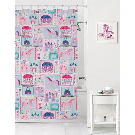 Mainstays Kids Princess Magic Coordinating Fabric Shower Curtain