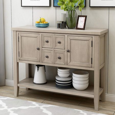 Clearance 46 Buffet Cabinet Sideboard Wood Console Table Storage With Four Drawers Two Cabinets And Bottom Shelf For Dining Room