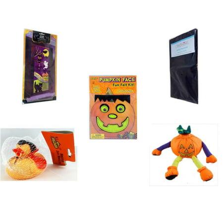 Halloween Fun Gift Bundle [5 Piece] - Happy  Door Panel - Black Plastic Table Cover  - Darice Pumpkin Face Fun Felt Kit - Frankenstein - Happy  Monster Duck Novelty -Vampire Rubber Duck - Pumpkin Or (Halloween Frankenstein Door Display)