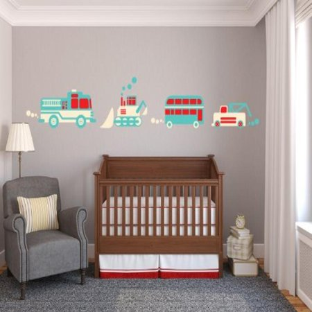 Tractor Fabric Wall Decals - Jumbo Sized - Fire Truck, Bulldozer, Tow Truck, Double Decker Bus ()