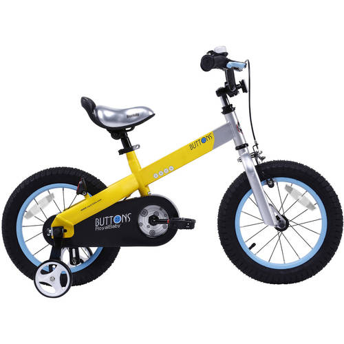 Cycle Force Group RoyalBaby Matte Buttons Kid's bike, unisex children's bike with training wheels, various trendy features, gifts for fashionable boys & girls, 14 inch wheels, Matte Yellow