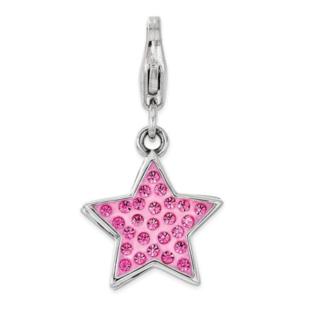 Solid 925 Sterling Silver Pink Swarovski Star with Lobster Clasp Pendant