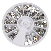 Tuscom Round 3D Acrylic Nail Art Gems Crystal Rhinestones DIY Decoration Wheel