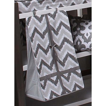 Bacati   Ikat Diaper Stacker 100 Cotton Percale Fabrics With Cardboard Insert  Zigzag Grey