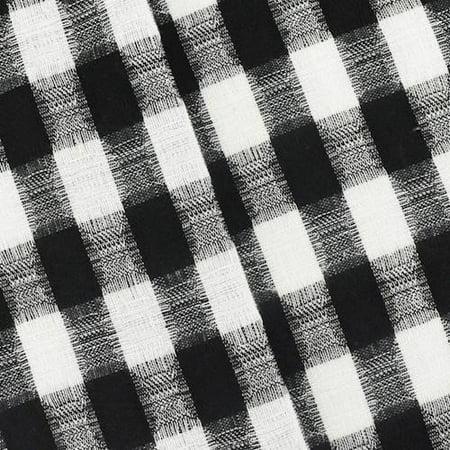 Black/White Checkered Plaid Jacquard Suiting, Fabric By the Yard](Black And White Checkered Flag Fabric)