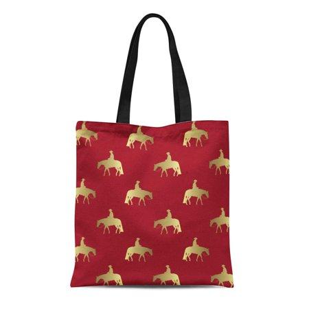 ASHLEIGH Canvas Tote Bag Western Golden Pleasure Horses Quarter Paints Appaloosas Palomino Gold Reusable Handbag Shoulder Grocery Shopping Bags - Fat Quarter Purse