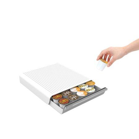 Mind Reader 30 Capacity K-Cup Single Serve Coffee Pod Storage Organizer Drawer- White
