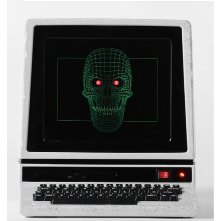 12 Inch Motion Activated Haunted Halloween Computer with Animated Light Up Skull Face - Spooky Phrases