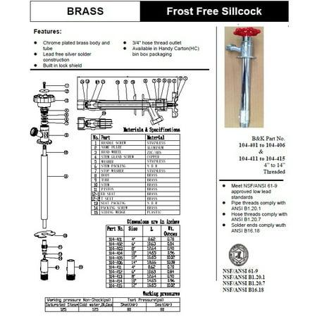 B & K 104-402 Sweat Brass 6