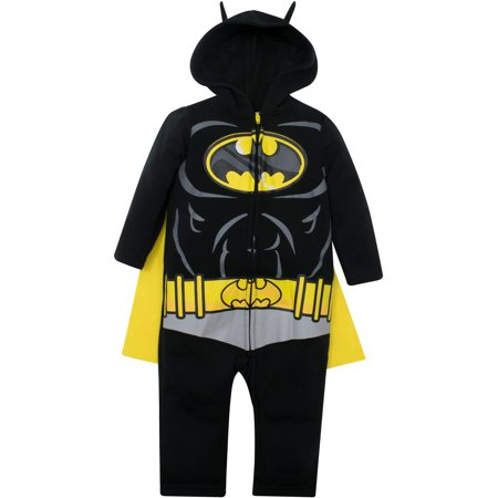 Warner Bros. Justice League Batman Baby Boys' Hooded Costume Coverall & Cape (24 Months) (Baby Boy 3-6 Months Halloween Costumes)
