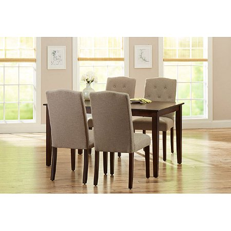 Better Homes and Gardens 5-Piece Dining Set with Upholstered Chairs, Taupe