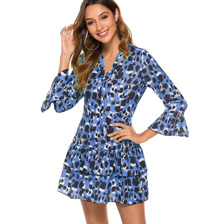 Ladies Boho Print Short Casual Party Wrap Tea Dress Women Long Sleeve Cocktail Prom Evening Party Mini Dress Ball Gown Sundress Pleated Ruffle Frill Short Dress Ruffle Tea Dress