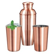 OGGI Copper Plated Stainless Steel Cocktail Shaker & 2 Tumblers (Set of 3) by OGGI