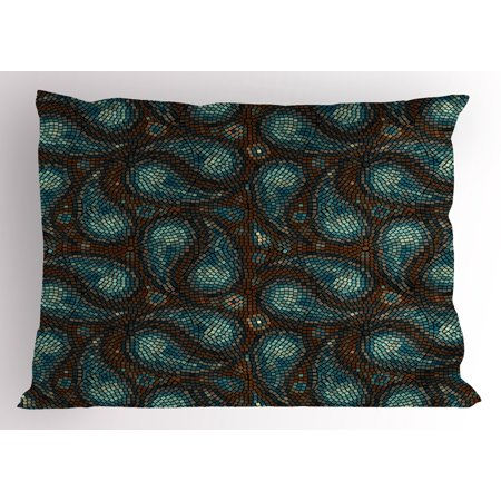 Paisley Pillow Sham Modern Mosaic Like Circled Design With