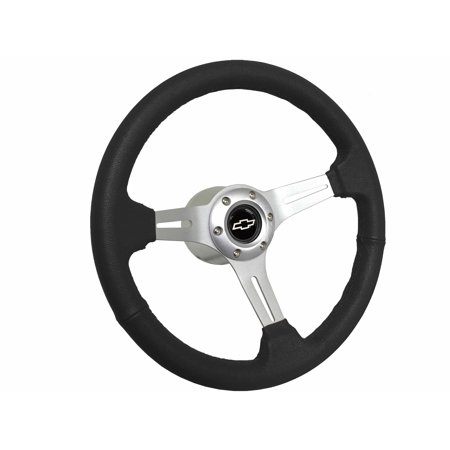 1969 - 1994 Chevy S6 Black Leather Steering Wheel Kit | Silver Bow - Cheap Bow Ties