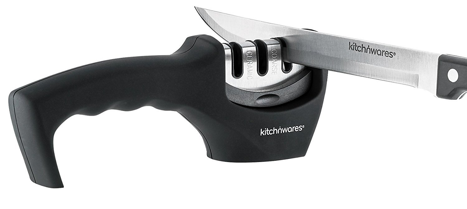 Easy Knife Sharpener 3-Stage Professional Knife-Sharpening System Sharpens Both Steel & Ceramic Knives All Sizes; Use... by Kitch N' Wares