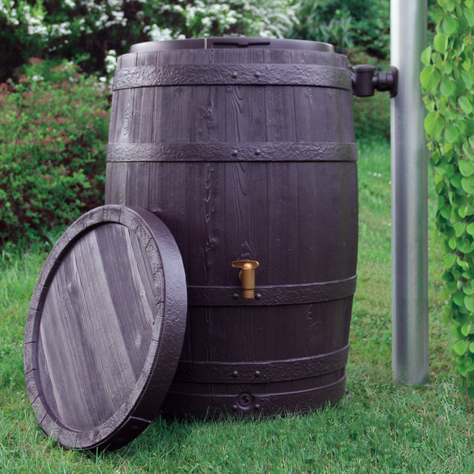 Exaco Vino 67-Gallon Rain Barrel with Planter Tray