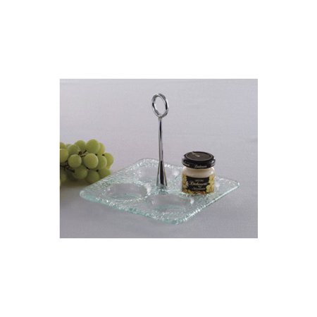 Jado Cross Handle (Culinaire Glassware Jade 6 Inch Square Jelly Jar Dish Glass Base with Chrome Plated Handle )