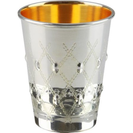 Elygant  58051T 925 Sterling Silver Coated Kiddush Cup with XP Design  5.5 oz & 3 in.
