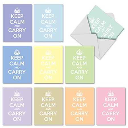 M10024TY CALM AND COLORFUL' 10 Assorted Thank You Note Cards Offer Timeless Advice With a Stiff Upper Lip with Envelopes by The Best Card