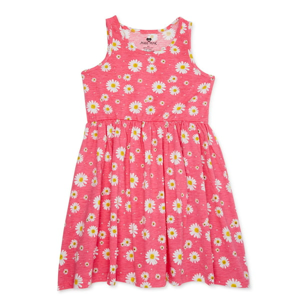 Pink Velvet Girls Jersey Flare Summer Play Dress, Sizes 4-12