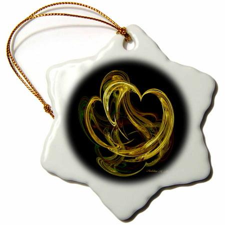 3dRose Heart of gold - Fractal Art - Snowflake Ornament, - Fractal Snowflake