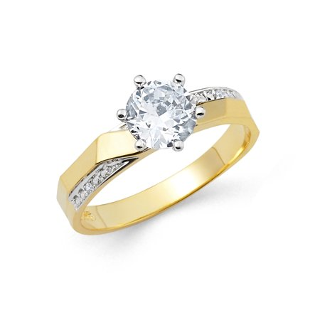 14K Two Tone Solid Gold 1 Ct. Round Cut Solitaire Cubic Zirconia CZ Wedding Engagement Ring - size 9
