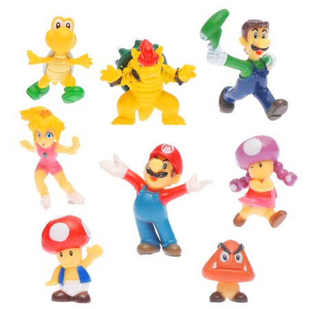 """Colorful Set Of 8 Pcs Super Mario Brothers Bros Figure Toy- 1"""" PVC Toys Free"""