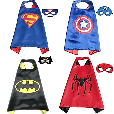 【Best Gift for Kids】Comics Cartoon Superhero Costumes 4 set Dress up Toddlers Capes and Masks For Boys Girls Birthday Party - Costumes Superheroes
