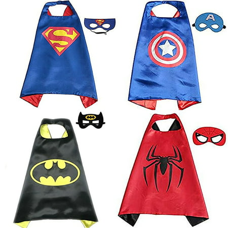 【Best Gift for Kids】Comics Cartoon Superhero Costumes 4 set Dress up Toddlers Capes and Masks For Boys Girls Birthday Party Supplies