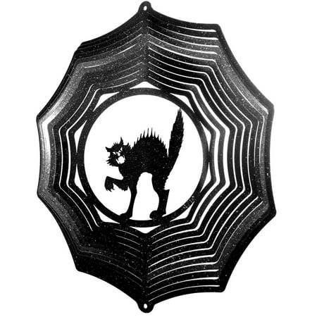 SWEN Products HOLIDAY HALLOWEEN SCARY CAT Web Metal Wind Spinner ()