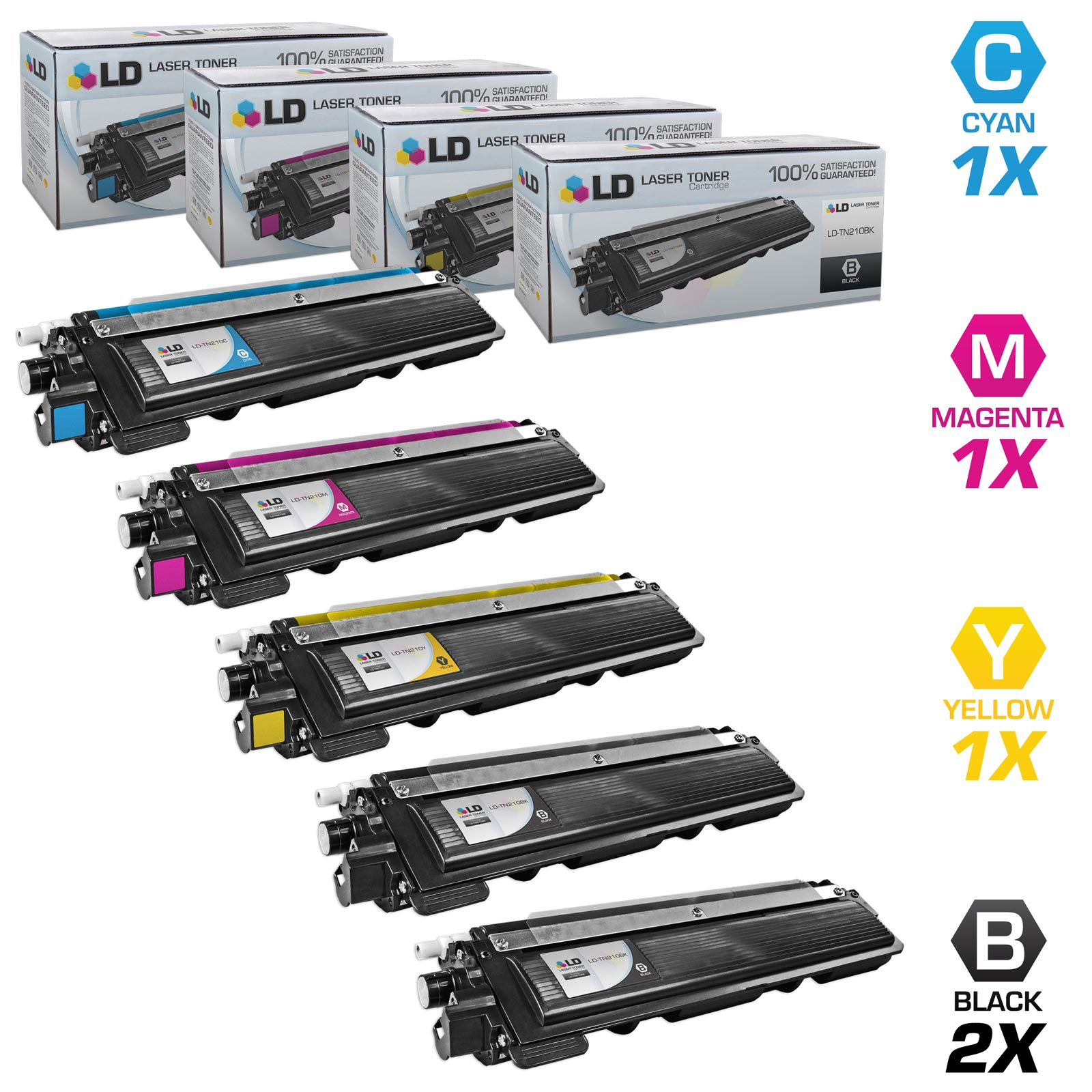 LD Brother Compatible TN-210 Set of 5 HY Toner Cartridges: 2 TN210BK & 1 TN210C, TN210M, & TN210Y for DCP-9010CN,