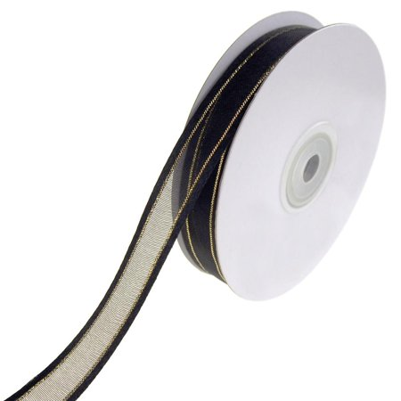 Gold-Lined Satin Edge Organza Ribbon, Black, 5/8-Inch, 25-Yard