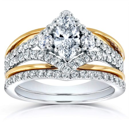 Art Deco Marquise Diamond Bridal Ring Set 1 1/5 Carat (ctw) in 14k Two-tone Gold, Size 9.5 14k Two Tone Gold Overlapping
