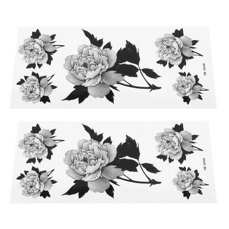 Unique Bargains 2 Sheets Floral Pattern Shoulder Leg Paper Sticker Temporary Tattoos Gray Black - Leg Lamp Tattoo