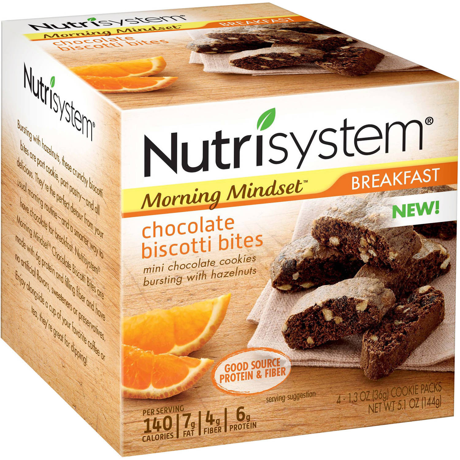 Nutrisystem Morning Mindset Breakfast Chocolate Biscotti Bites, 1.3 oz, 4 count by