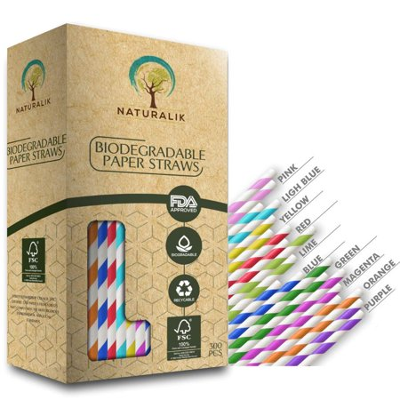 Paper Drinking Straws (Naturalik 300-Pack Biodegradable Paper Straws 10 Assorted Colors - Premium Eco-Friendly Paper Straws Bulk- Drinking Straws for Juices, Smoothies, Restaurants and Party Decorations, 7.7