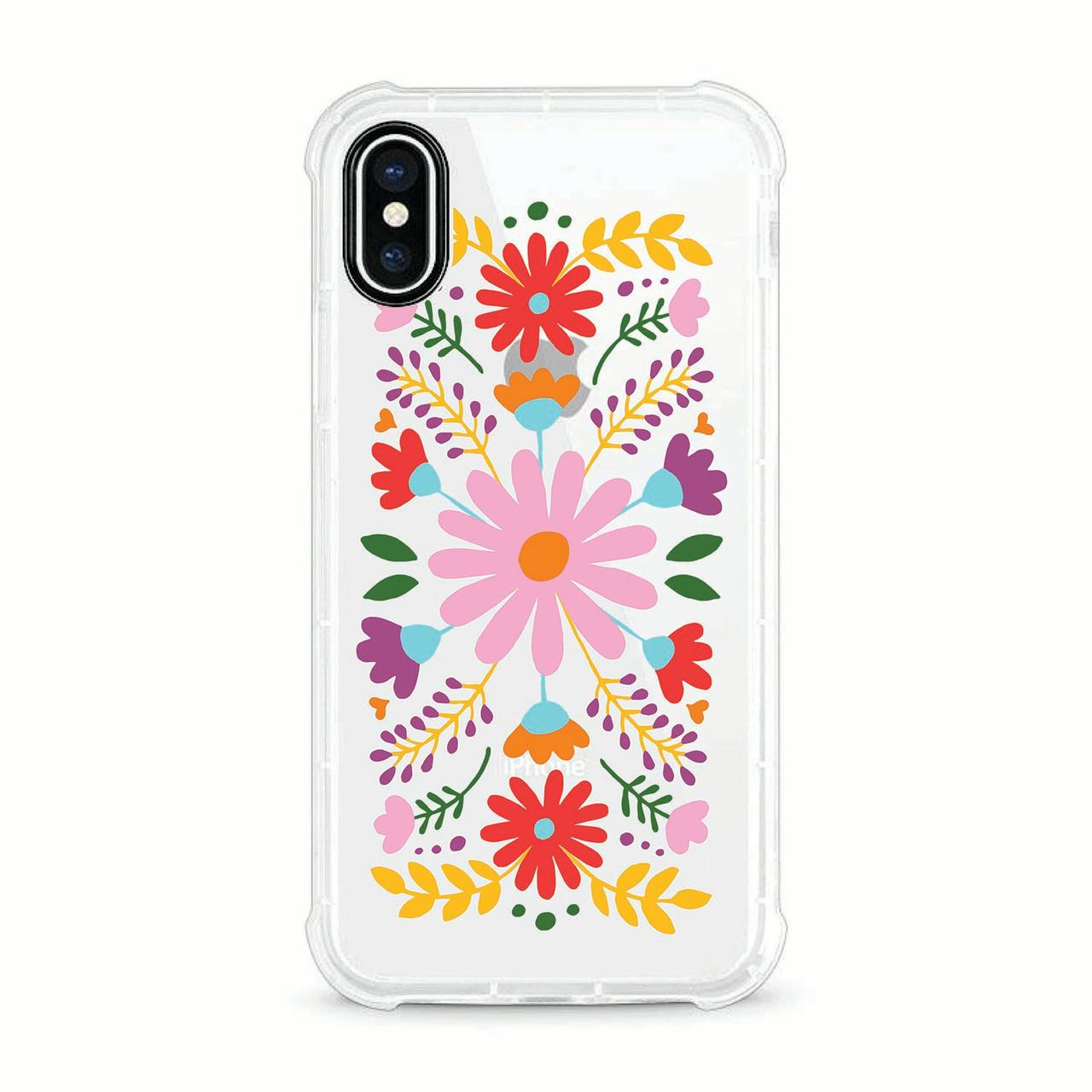 OTM Essentials iPhone X Clear Rugged Edge Phone Case, Festival Floral