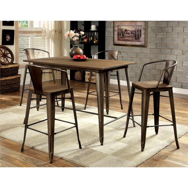Furniture of America Mayfield 5 Piece Counter Height Dining Set in Elm