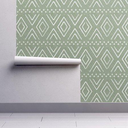 Diamond Toss Wallpaper - Peel-and-Stick Removable Wallpaper Green Boho Diamonds Sage Mudcloth Bohemian