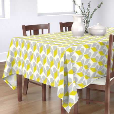 Tablecloth And Yellow 60S Retro Mod Geometric Chevron Ting Modern Cotton Sateen