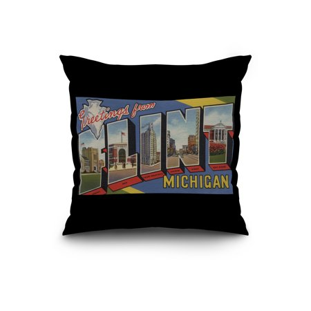 Flint Michigan Large Letter Scenes 20x20 Spun Polyester Pillow Black B